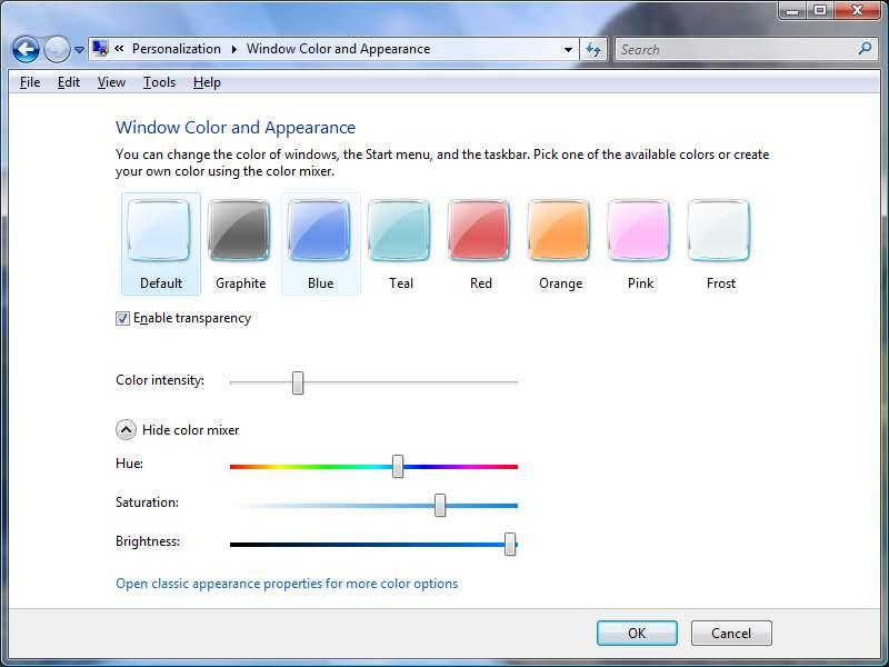 Для настройки цветовой схемы откройте окно Персонализация и выберите ссылку Цвети внешний вид окон.